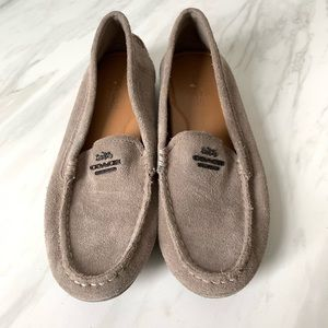Coach Mary Lock Up Suede Gray Loafers Size 7